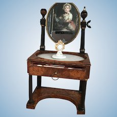 Rare ca. 1810 French Necessary Miniature Toilet Table