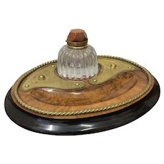 Walnut & Brass Inkstand for Desk with Glass Inkwell