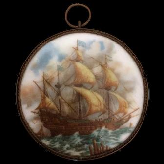Porcelain Miniature of a Schooner