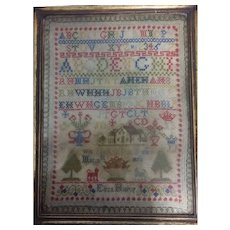 Antique Sampler in original frame by Eliza Hislop 1876