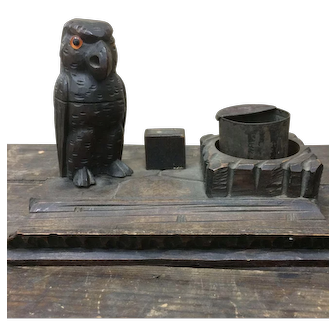 Black Forest or South Tyrol Carved Parrot Inkstand