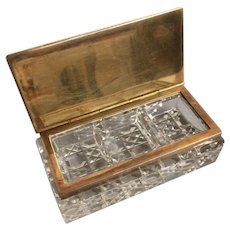 Antique Cut Glass Brass Stamp Box