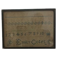 Antique Sampler in original frame by Emily Cotes 1814