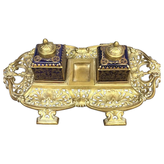 19th Century Brass Desk Inkstand by Taylor, Tunnicliffe