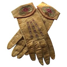 French Leather Embroidered Ladies Gloves