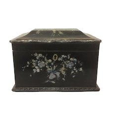 19th Century Tea Caddy Papier Mache Mother of Pearl Inlay