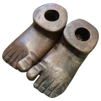 Wooden Carved Child's Feet Candleholders