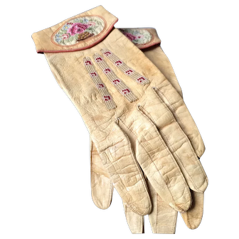 French Leather Gloves with Embroidery