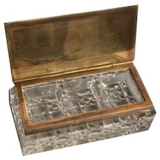 Early 20th Century Cut Glass Brass Stamp Box