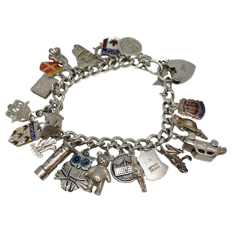 1970s Charm Bracelet Travel Theme