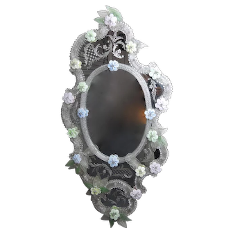 Venetian Glass Mirror with Floral Design
