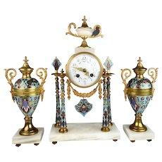 French Bronze & Champleve Clock Garniture Set