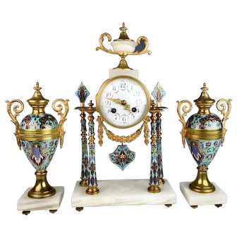 French Bronze & Champleve Clock Garniture Set