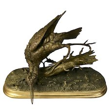 French Pautrot Bronze Woodcock Figure