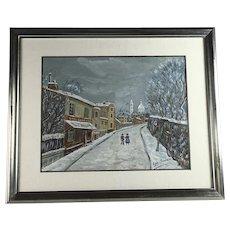 "Igor Berdaiev ""Winter Street Scene"" Painting"