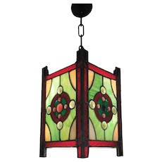 Colorful Leaded Glass Entry Chandelier