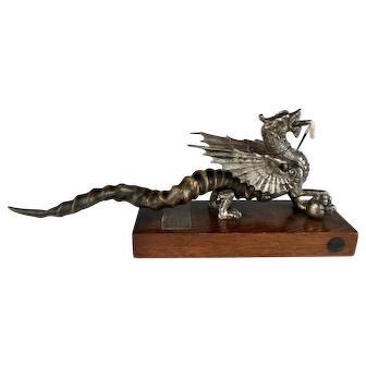 Rare Victorian Silver Plate Dragon Cigar Lighter