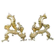 Dore Bronze Putti Chenets