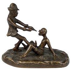 "Amusing Bronze Sculpture ""Pulling Teeth"""