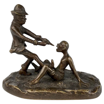 "Amusing Bronze Sculpture ""Pulling Teeth"""