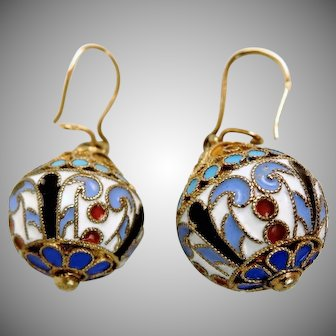 Pair of Russian Silver and Enamel Earrings