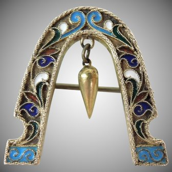 Signed Russian Silver and Enamel Brooch