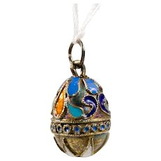 Russian Silver and Enamel Egg Pendant