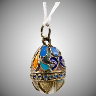 Russian Silver and Enamel Egg Pendant