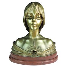 Villanis Bronze Bust of a Young Girl