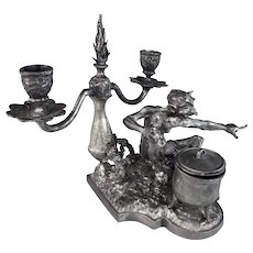 Pointing Faun (Devil) Inkwell & Candelabra