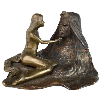 Art Nouveau Bronze Inkwell with Nude