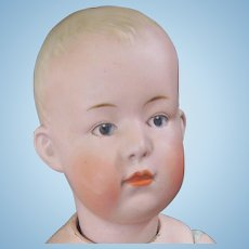 Heubach Germany _Boy_ Doll Bisque Porcelain Composition Antique Toy Muscular Body Intaglio Eye O Mouth Tongue