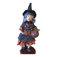 Primitive Sculpted Witch with Pumpkin OOAK