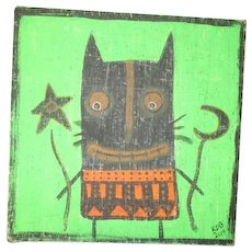 Primitive folk art halloween painting