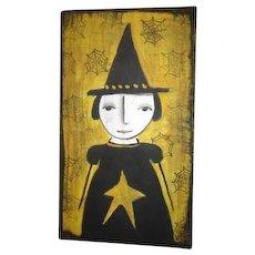Primitive folk art Witch painting