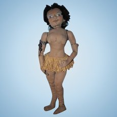 Amazing Josephine Baker cloth sculpted black doll OOAK