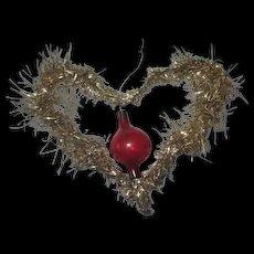 Antique blown glass inside tinsel heart ornament