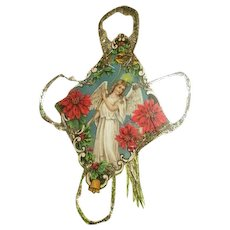 Antique die cut Angel ornament with beautiful tinsel