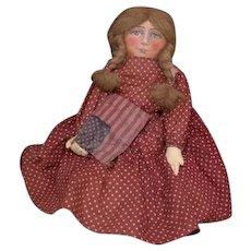 Beautiful painted face Patriotic  primitive Folk Art doll
