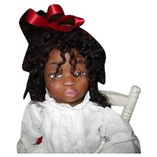 Sweet black sculpted doll by Jude Kapron OOAK