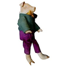 Wonderful painted cloth artist Pig doll OOAK