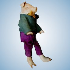 Wonderful painted cloth artist Pig doll OOAK