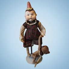 Adorable primitive boy with Teddy doll by Patty Cake Primitives