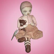 Heart warming painted cloth artist doll OOAK