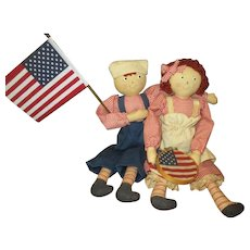 Sweet prim Raggady Ann & Andy patriots
