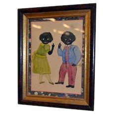 Amazing vintage Golliwogg painting