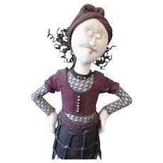 Stunning Cloth sculpted art doll OOAK