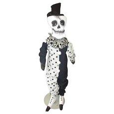 Primitive original cloth painted Halloween grungy  skeleton OOAK
