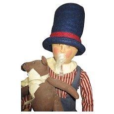 primitive artist Uncle Sam with Teddy