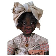 Wonderful painted cloth Black doll OOAK